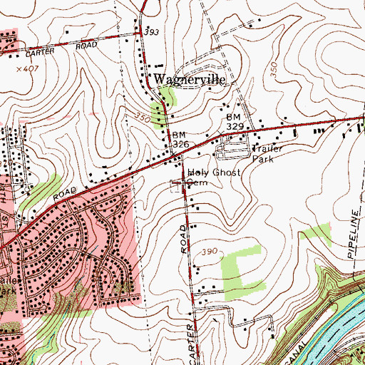 Topographic Map of Holy Ghost Cemetery, PA