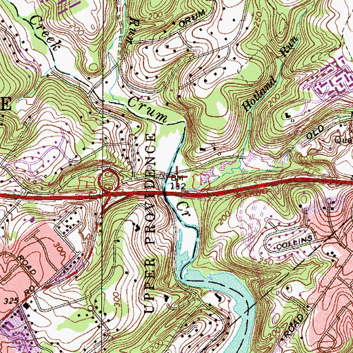 Topographic Map of Holland Run, PA