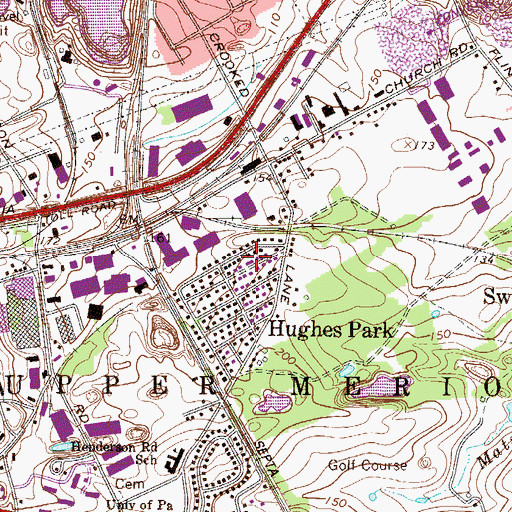 Topographic Map of Hughes Park, PA