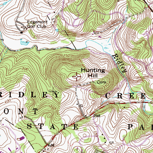 Topographic Map of Hunting Hill, PA