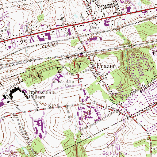 Topographic Map of Immaculata Cemetery, PA