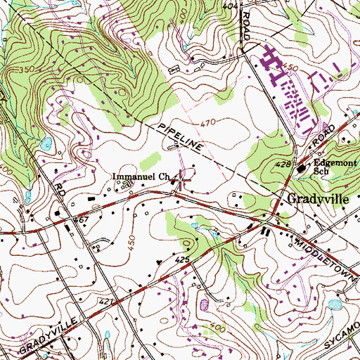 Topographic Map of Immanuel Church, PA