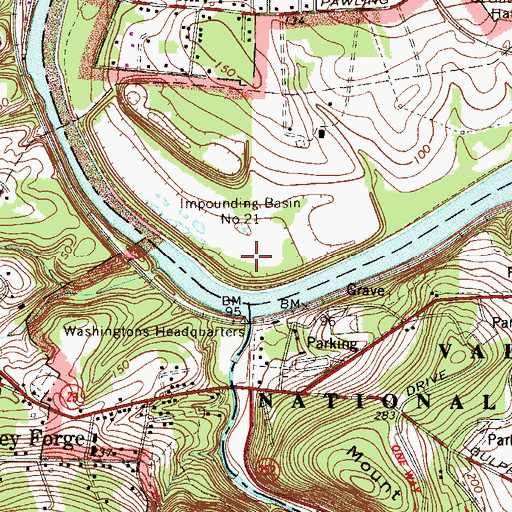 Topographic Map of Impounding Basin Number Twenty-One, PA