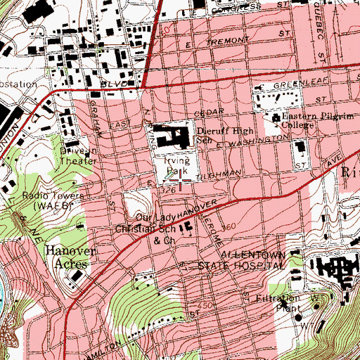Topographic Map of Irving Park, PA