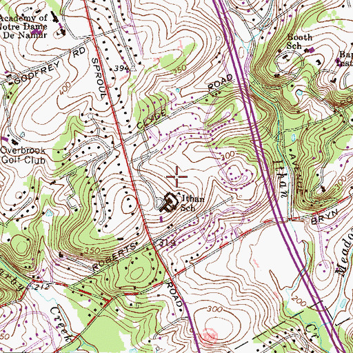 Topographic Map of Ithan School, PA