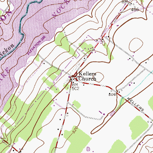 Topographic Map of Kellers Church (historical), PA
