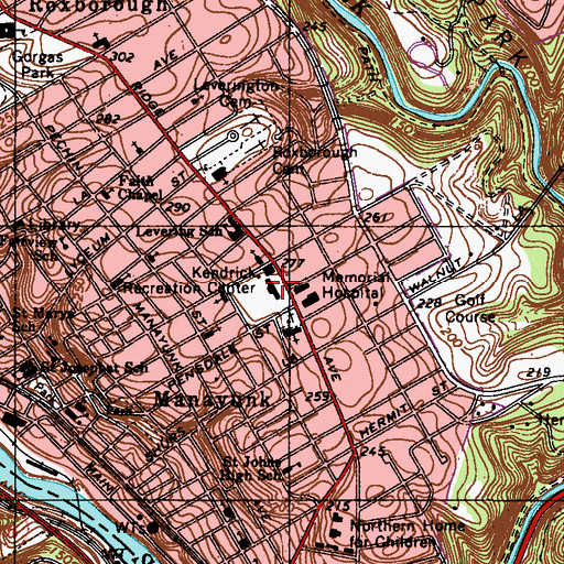 Topographic Map of Kendrick Recreation Center, PA