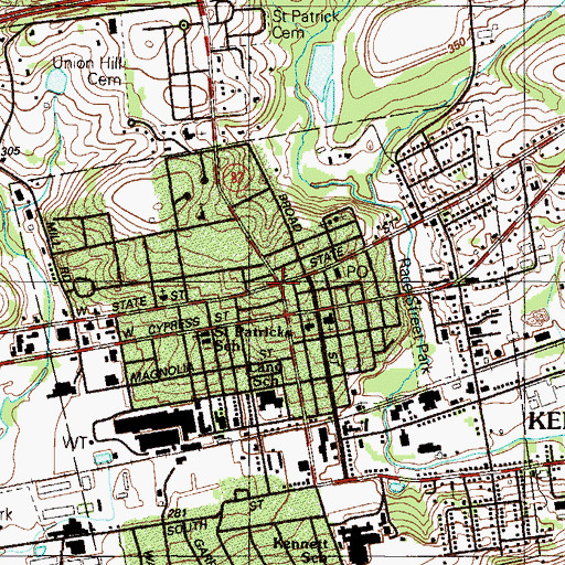 Topographic Map of Kennett Square, PA