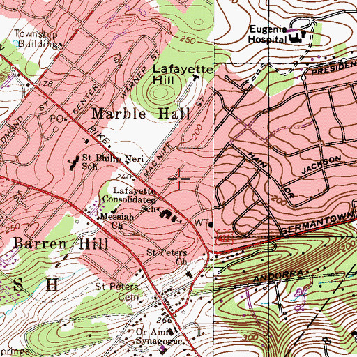 Topographic Map of Lafayette Consolidated School, PA