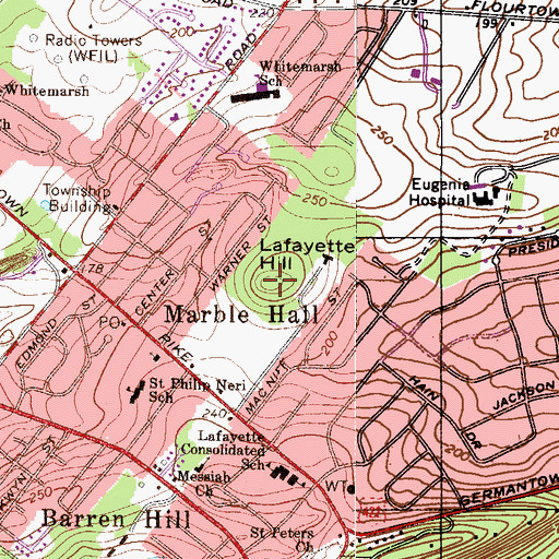 Topographic Map of Lafayette Hill, PA