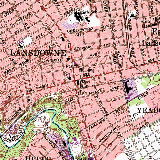 Topographic Map of Lansdowne, PA