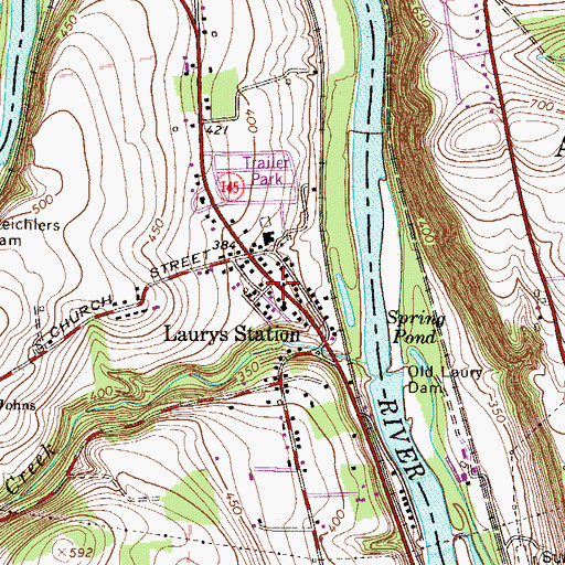 Topographic Map of Laurys Station, PA