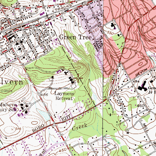 Topographic Map of Laymens Retreat, PA