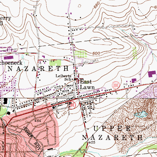 Topographic Map of Leiberts School, PA