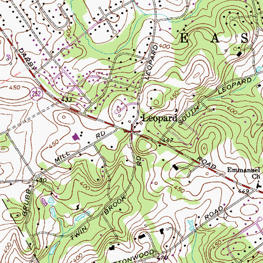 Topographic Map of Leopard, PA