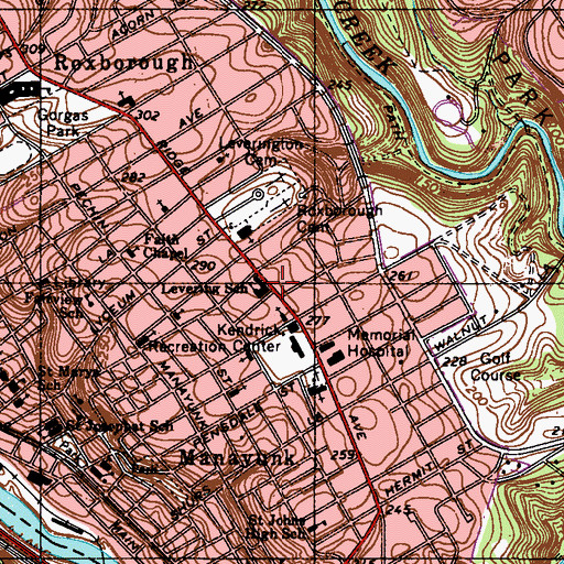 Topographic Map of Levering School, PA