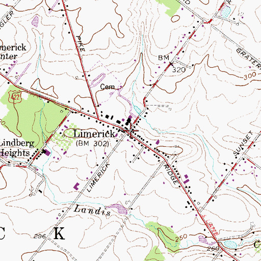 Topographic Map of Limerick, PA
