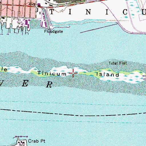 Topographic Map of Little Tinicum Island, PA