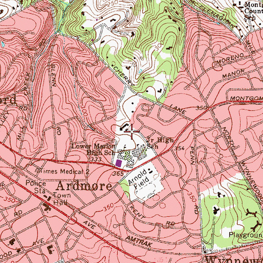 Topographic Map of Lower Merion High School, PA