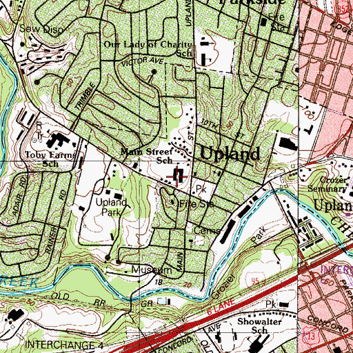 Topographic Map of Main Street School, PA