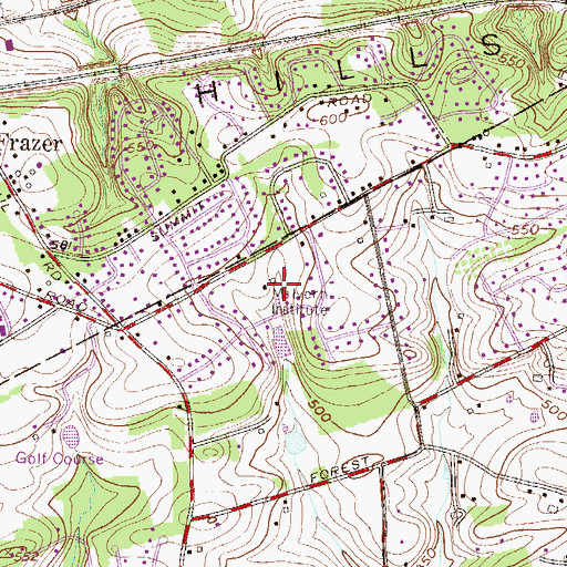 Topographic Map of Malvern Institute, PA
