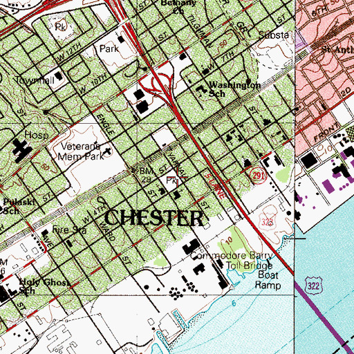Topographic Map of Mann School, PA