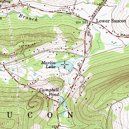 Topographic Map of Marlin Lake, PA