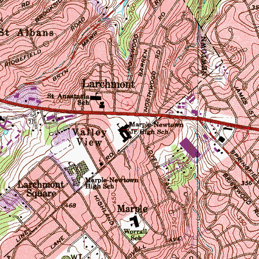 Topographic Map of Marple-Newtown Junior High School, PA