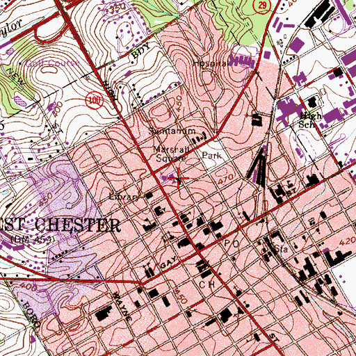 Topographic Map of Marshall Square, PA