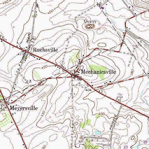 Topographic Map of Mechanicsville, PA