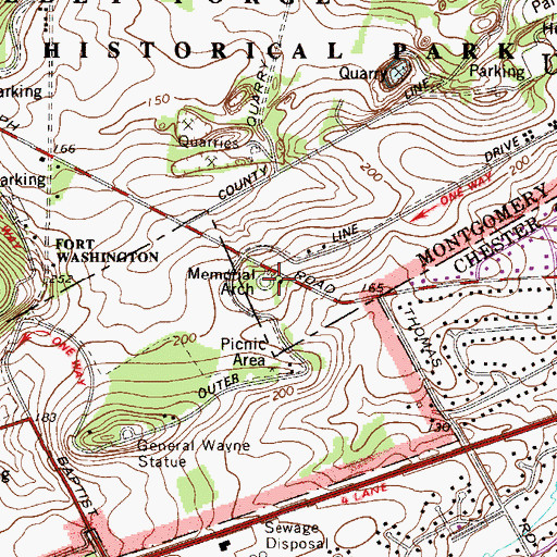 Topographic Map of Memorial Arch, PA