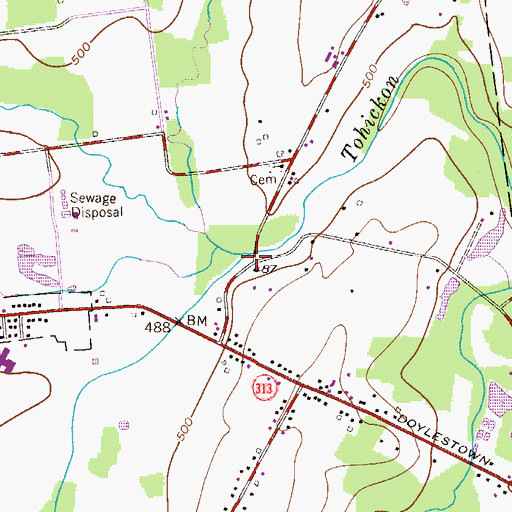 Topographic Map of Morgan Creek, PA