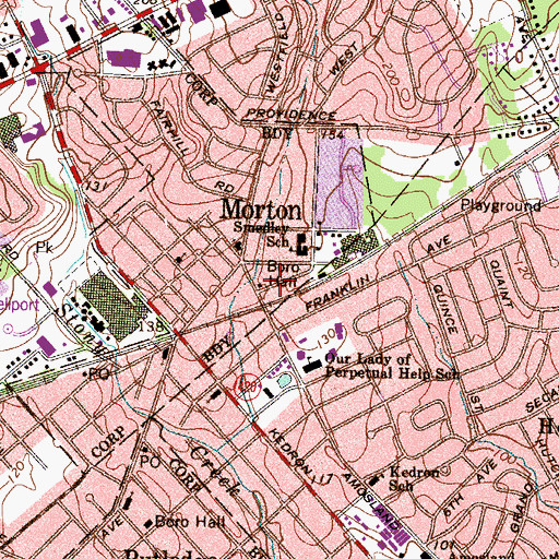 Topographic Map of Morton, PA