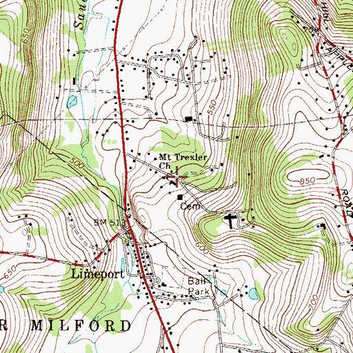 Topographic Map of Mount Trexler Church, PA