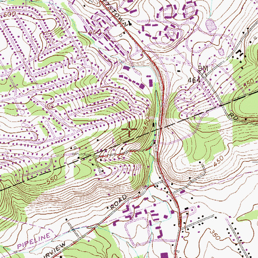 Topographic Map of North Valley Hills, PA