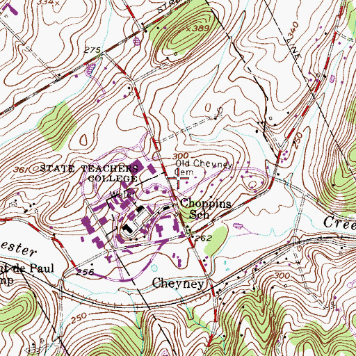 Topographic Map of Old Cheyney Cemetery, PA