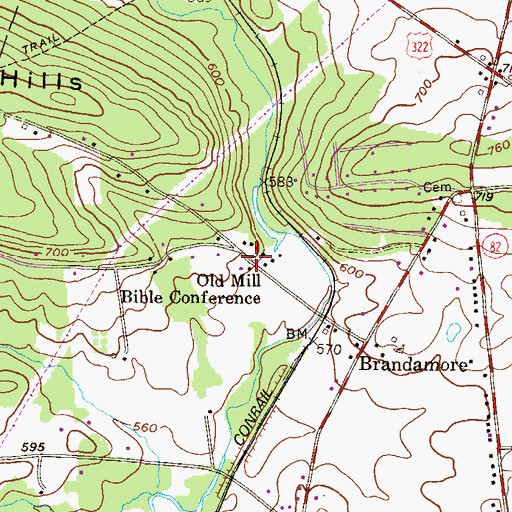 Topographic Map of Old Mill Bible Conference, PA