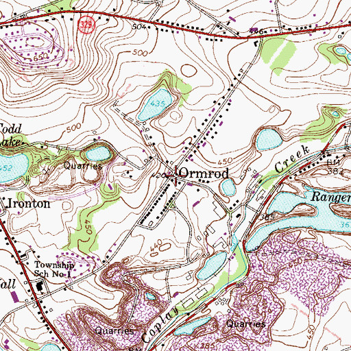 Topographic Map of Ormrod, PA