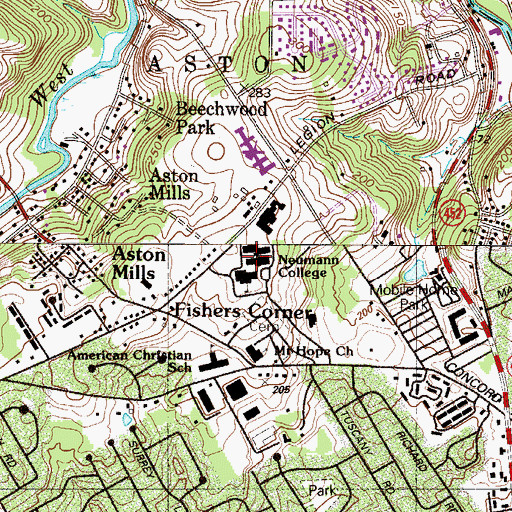 Topographic Map of Our Lady of Angels College, PA