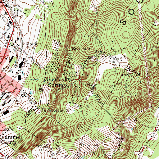 Topographic Map of Overlook Springs, PA