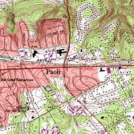 Topographic Map of Paoli, PA