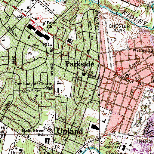 Topographic Map of Parkside, PA