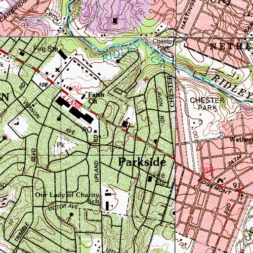Topographic Map of Parkside School, PA