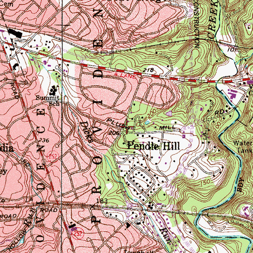 Topographic Map of Pendle Hill, PA