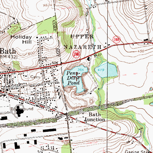 Topographic Map of Penn-Dixie Pond, PA