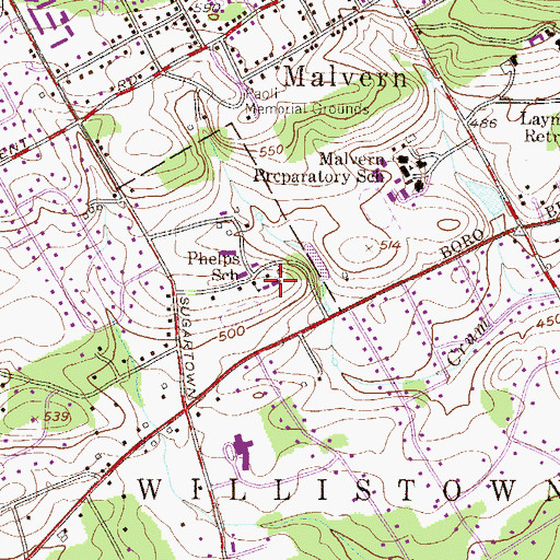Topographic Map of Phelps School, PA