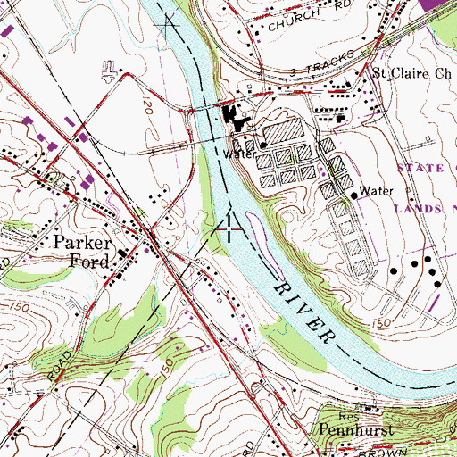 Topographic Map of Pigeon Creek, PA