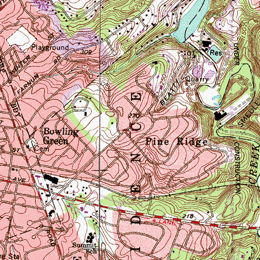 Topographic Map of Pine Ridge, PA