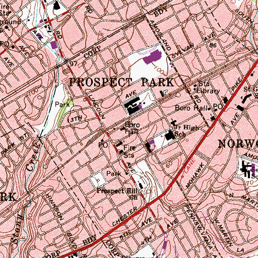 Topographic Map of Prospect Park, PA