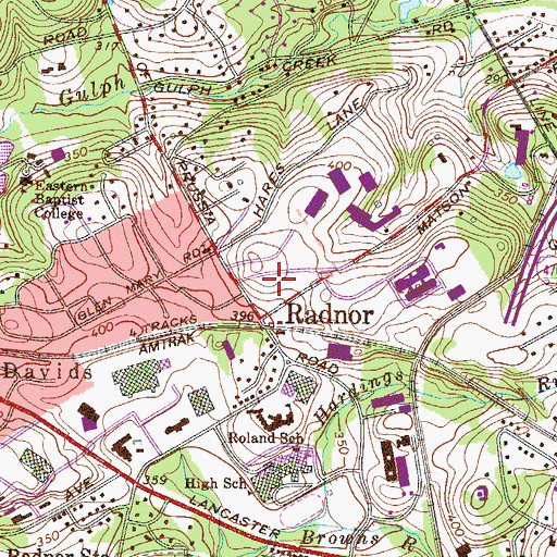 Topographic Map of Radnor, PA
